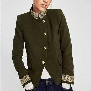 zara velvet jacket with passementerie, NWT